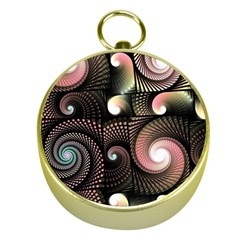 Peach Swirls On Black Gold Compasses