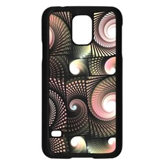 Peach Swirls On Black Samsung Galaxy S5 Case (black)