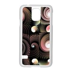 Peach Swirls on Black Samsung Galaxy S5 Case (White)