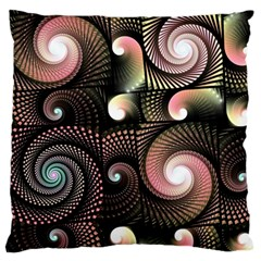 Peach Swirls on Black Large Flano Cushion Cases (Two Sides)