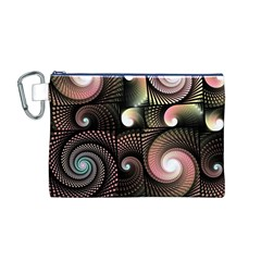 Peach Swirls on Black Canvas Cosmetic Bag (M)