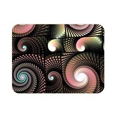 Peach Swirls on Black Double Sided Flano Blanket (Mini)