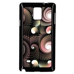 Peach Swirls on Black Samsung Galaxy Note 4 Case (Black)