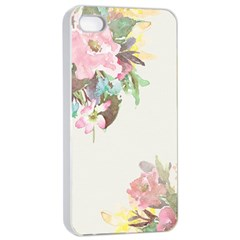 Vintage Watercolor Floral Apple iPhone 4/4s Seamless Case (White)