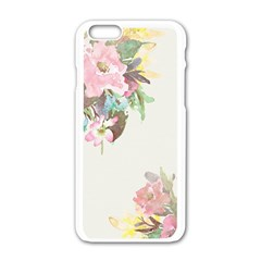 Vintage Watercolor Floral Apple iPhone 6 White Enamel Case