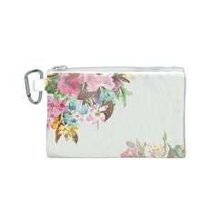 Vintage Watercolor Floral Canvas Cosmetic Bag (S)