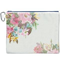 Vintage Watercolor Floral Canvas Cosmetic Bag (XXXL)
