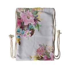 Vintage Watercolor Floral Drawstring Bag (Small)