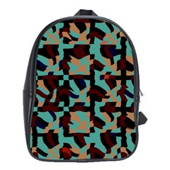 Distorted Shapes In Retro Colors School Bag (xl)