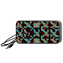 Distorted shapes in retro colors Portable Speaker