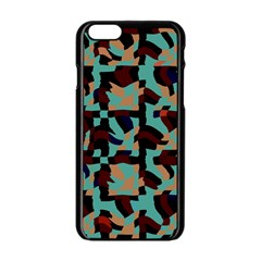 Distorted Shapes In Retro Colors Apple Iphone 6 Black Enamel Case