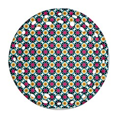 Cute Abstract Pattern Background Round Filigree Ornament (2side)