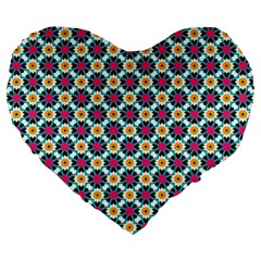 Cute abstract Pattern background Large 19  Premium Flano Heart Shape Cushions