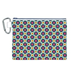 Cute Abstract Pattern Background Canvas Cosmetic Bag (l)