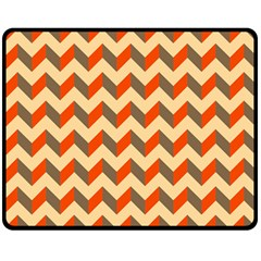 Modern Retro Chevron Patchwork Pattern  Double Sided Fleece Blanket (Medium)