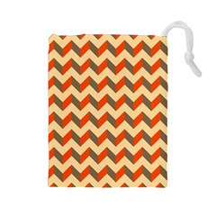 Modern Retro Chevron Patchwork Pattern  Drawstring Pouches (large)