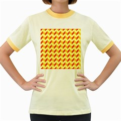 Modern Retro Chevron Patchwork Pattern  Women s Fitted Ringer T-Shirts