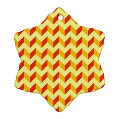 Modern Retro Chevron Patchwork Pattern  Snowflake Ornament (2-Side)