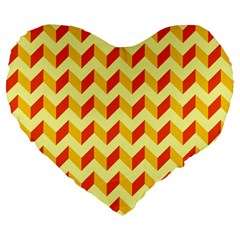 Modern Retro Chevron Patchwork Pattern  Large 19  Premium Flano Heart Shape Cushions