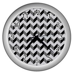 Modern Retro Chevron Patchwork Pattern  Wall Clocks (silver)