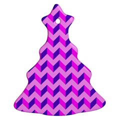 Modern Retro Chevron Patchwork Pattern Christmas Tree Ornament (2 Sides)