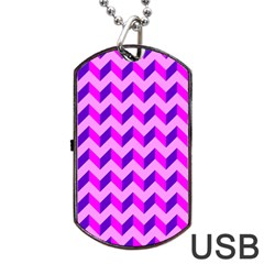 Modern Retro Chevron Patchwork Pattern Dog Tag USB Flash (One Side)