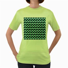 Modern Retro Chevron Patchwork Pattern Women s Green T-Shirt