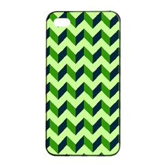 Modern Retro Chevron Patchwork Pattern Apple Iphone 4/4s Seamless Case (black)