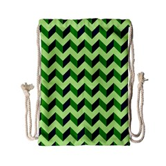 Modern Retro Chevron Patchwork Pattern Drawstring Bag (Small)
