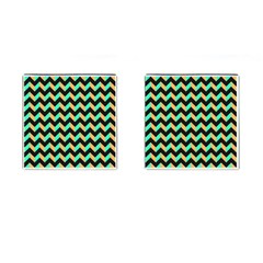 Modern Retro Chevron Patchwork Pattern Cufflinks (square)
