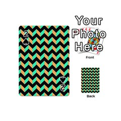 Modern Retro Chevron Patchwork Pattern Playing Cards 54 (Mini)