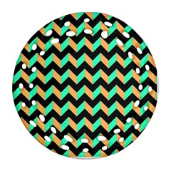 Modern Retro Chevron Patchwork Pattern Round Filigree Ornament (2Side)