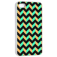 Modern Retro Chevron Patchwork Pattern Apple iPhone 4/4s Seamless Case (White)
