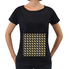 Modern Retro Chevron Patchwork Pattern Women s Loose-Fit T-Shirt (Black)