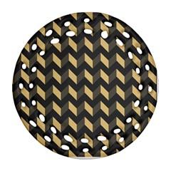 Modern Retro Chevron Patchwork Pattern Ornament (Round Filigree)
