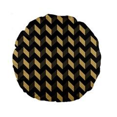 Modern Retro Chevron Patchwork Pattern Standard 15  Premium Round Cushions