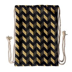 Modern Retro Chevron Patchwork Pattern Drawstring Bag (Large)