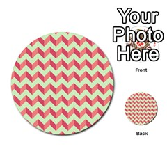 Modern Retro Chevron Patchwork Pattern Multi-purpose Cards (Round)