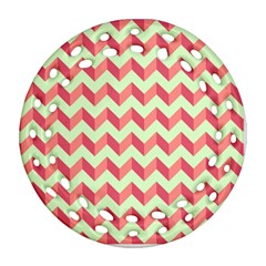 Modern Retro Chevron Patchwork Pattern Ornament (Round Filigree)