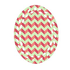 Modern Retro Chevron Patchwork Pattern Oval Filigree Ornament (2 Side)