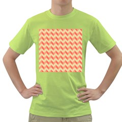Modern Retro Chevron Patchwork Pattern Green T Shirt