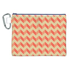 Modern Retro Chevron Patchwork Pattern Canvas Cosmetic Bag (XXL)