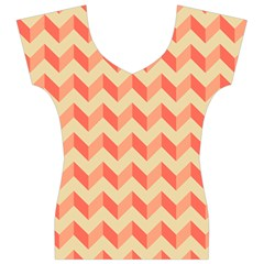 Modern Retro Chevron Patchwork Pattern Women s V-Neck Cap Sleeve Top