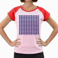 Blue And White Leaf Pattern Women s Cap Sleeve T-Shirt