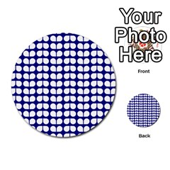 Blue And White Leaf Pattern Multi Purpose Cards (round)