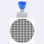 Blue And White Leaf Pattern Rubber Round Stamps (Large) 1.875 x1.875  Stamp