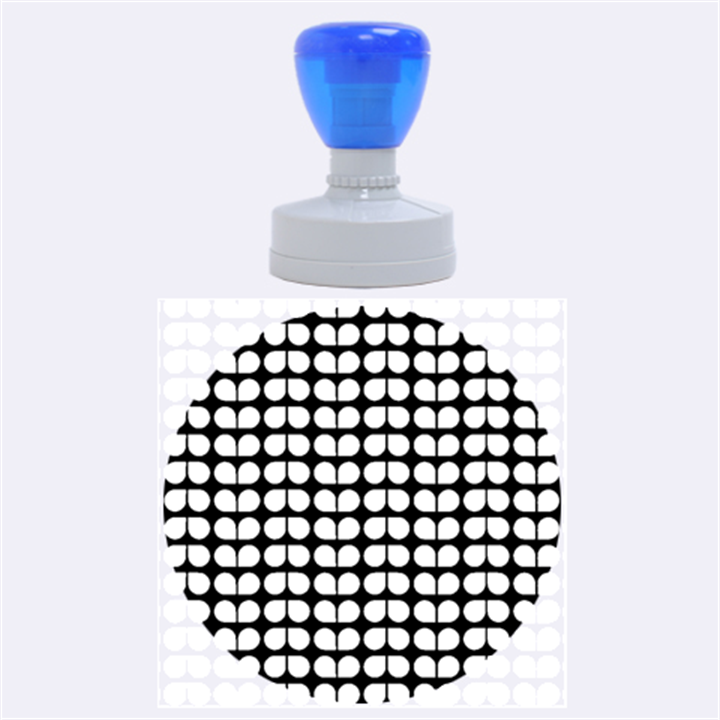 Blue And White Leaf Pattern Rubber Round Stamps (Large)