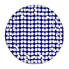 Blue And White Leaf Pattern Ornament (Round Filigree)