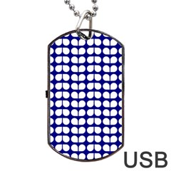 Blue And White Leaf Pattern Dog Tag Usb Flash (one Side)