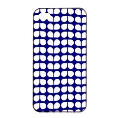 Blue And White Leaf Pattern Apple Iphone 4/4s Seamless Case (black)